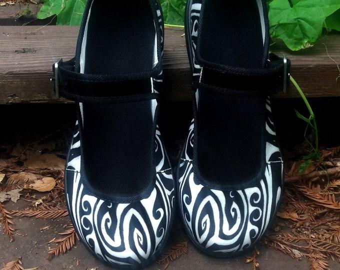Shark Away!, Mary Janes, Black & White, Stripe, Womens Shoes, Spiral,Shark, Black White Shoes,Waves, Symmetry, Shark Repellent, Original Art