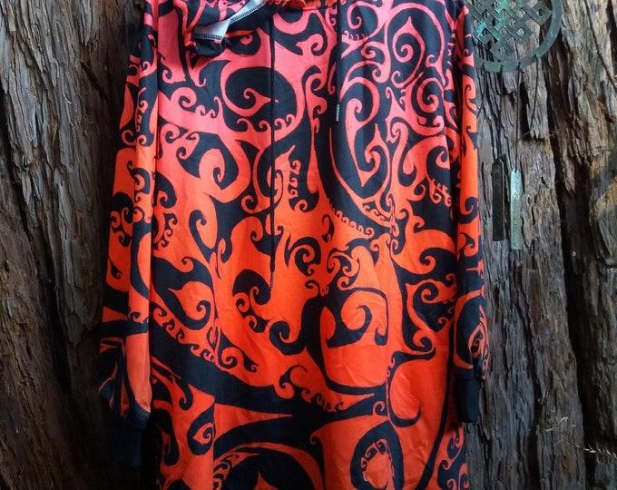 Hoodie Dress, Autumnal Ombre, Swirl, Spiral, Long Hoodie, Sweatshirt Dress, Celtic Spiral Dress, Red, Orange,Ombre, Original Art, Hand Drawn