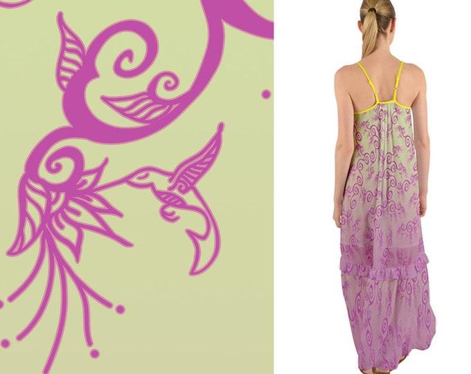 Hummingbird Ombre, Pink, Beige, Boho, Maxi Dress, Sundress, Bird, Garden,Flower, Floral, Ruffle,Spring,Baggy,Twirl, Hand Drawn, Original Art