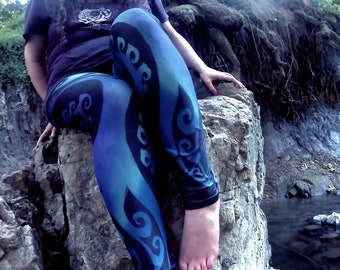 Ice Valkyrie III, Celtic Spiral, Ombre, Leggings, Swirl, Purple, Blue, Frozen, Rave, Festival, Workout, Dance, Sexy, Winter Colors, Symmetry