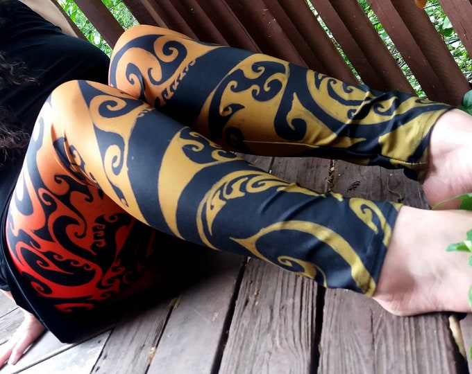 Autumnal Ombre Swirl, Celtic Spiral Ombre Leggings, Rave, Festival, Workout, Dance, Athletic, Bright Colors, Red, Orange, Flame, Symmetry