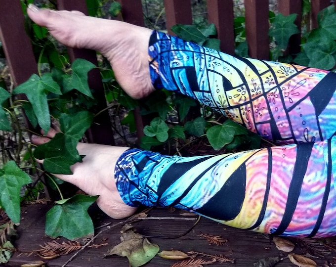 Liquid Rainbow III, Celtic Knot Leggings, Rainbow Pants, Psychedelic, Trippy, Floral, Deco,Pride, Rave, Dance,Festival, Original Ink Drawing