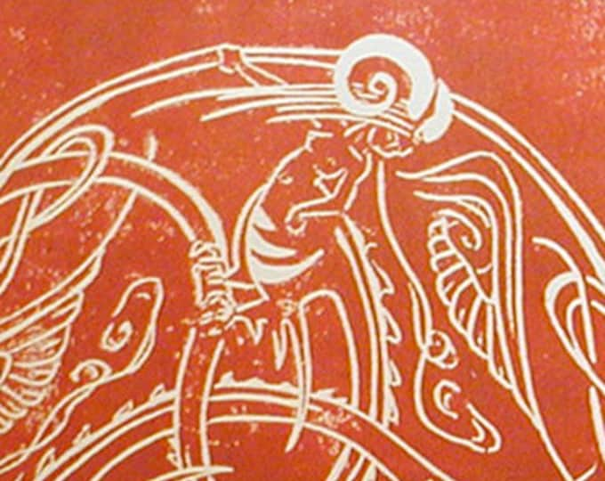 Hand-Printed Dragon Ladies in Red Ink on Beige - Unframed - Fabulous Wallflowers - Red Dragon Lady - Decorative Arts - Printmaking