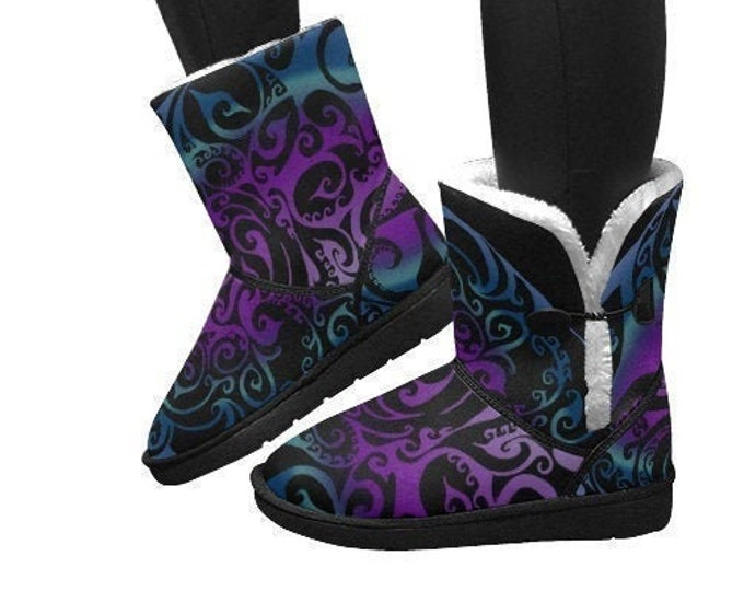 Ice Valkyrie Snow Boots, Blue, Purple, Ombre, Ice, Swirl, Winter, Snow Boot, Warm Boot, Womens Boot, Hand Drawn, Original Art, by Caballera