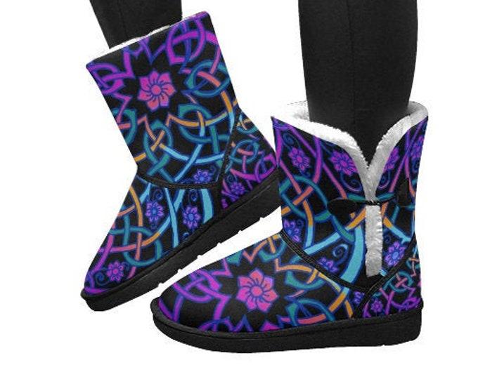 Blacklight Celtic Flower, Snow Boots, Purple, Blue, Pink, Celtic Knot, Neon Colors, Rainbow, Ombre, Hand Drawn, Original Art, by Caballera