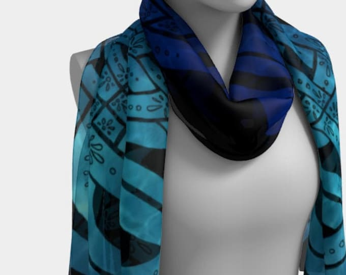Suboceana, Ocean Ombre, Celtic, Reflective Pool, Celtic Knot Scarf, Blue Ombre, Sky Blue, Turquoise, Silk Scarf, Original Art, Hand Drawn