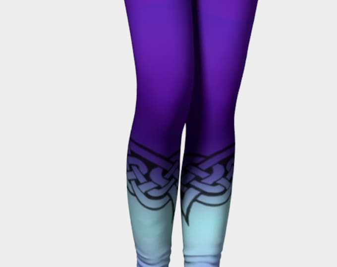 Celtic Briar, Purple, Blue, Ombre, Leggings, Celtic Knot, Celtic Leggings, Pants, Tangled, Irish, Dance, Workout, Hand Drawn, Original Art