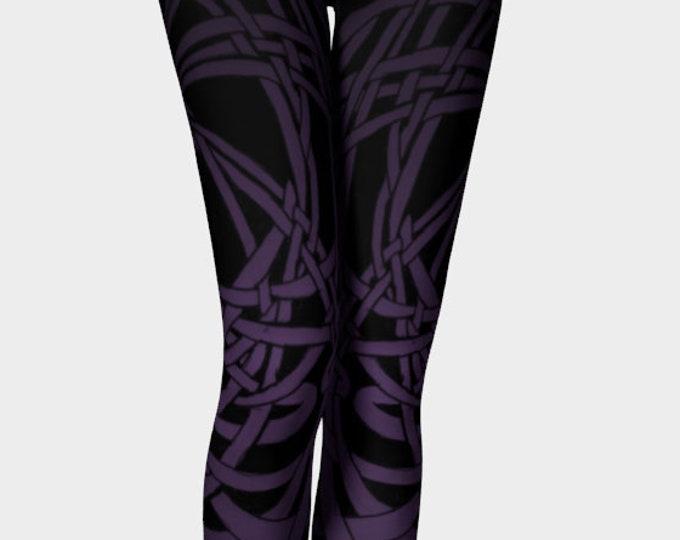 Meandering Knot, Royal Purple, Ombre Leggings, Celtic Knot, Purple Leggings, Celtic, Dark Purple, Workout, Dance, Purple Pants, Original Art