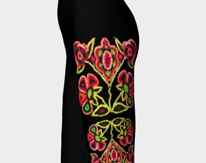 Wild Beaded Flowers, Crazy Bright Colors, Bead Embroidery Print, Athabaskan, Neon, Boho,Rainbow, Workout, Dance, Leggings, Original Beadwork
