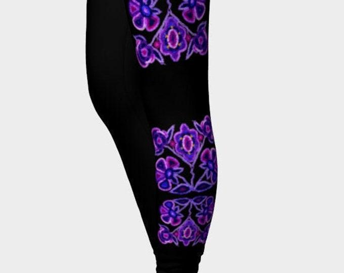 Wild Beaded Flowers II, Purple, Blue, Magenta, Black, Bead Embroidery Print, Athabaskan, Boho, Workout, Dance, Leggings, Original Beadwork