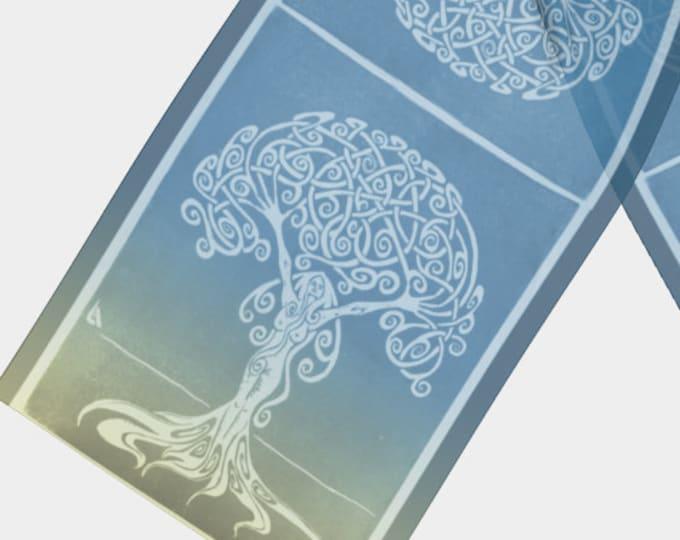 Sunrise Dryad, Scarf, Blue, Gold, Tree Woman, Silk Scarf, Ombre, Swirl, Celtic, Girl Power, Fabulous Wallflowers, Original Art, Laura Cesari
