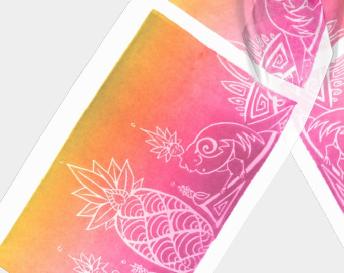 Sirens & Pineapple, Pink, Gold, Ombre, Long Scarf, Tropical, Fantasy, Mythical Characters, Myth, Bird Ladies, Original Art, by Laura Cesari