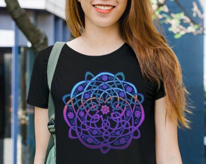 Purple Ombre Celtic Flower, Neon Color, Celtic Knot, Rainbow, Ombre, Mandala,Tee Shirt, Celtic Shirt, Hand Drawn, Original Art, by Caballera