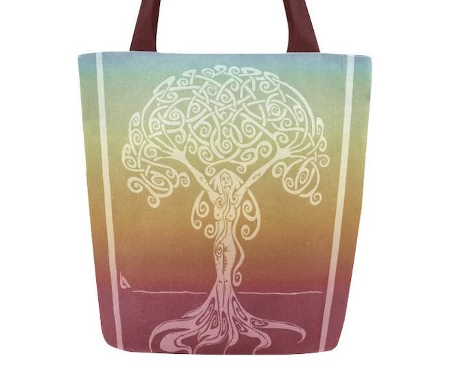 Rainbow Sunrise Dryad, Goddess, Tote Bag, Woman, Book Bag, Canvas Tote, Rainbow, Girl Power, Fabulous Wallflowers, Original Art, Block Print