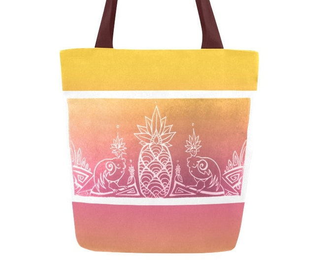 Sirens and Pineapple, Book Bag, Pink,Gold, Tropical, Mythical, Goddess, Canvas, Tote, Ombre, Fabulous Wallflowers, Original Art, Block Print
