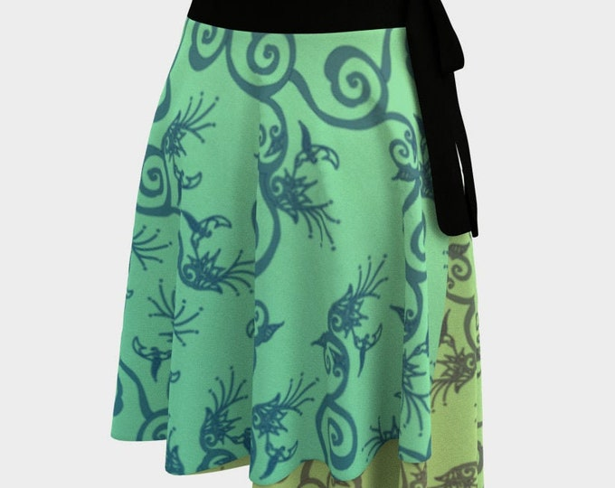 Hummingbird Ombre, Wrap Skirt, Green, Yellow, One Size Fits All, Plus Size, Bird, Flower,Floral,Spring,Twirl Skirt, Hand Drawn, Original Art