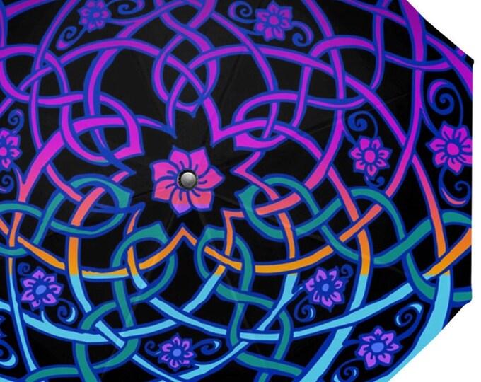 Celtic Flower Umbrella, Blacklight Rainbow Sherbet Ombre, 7 Petal Flower, Celtic Knot Umbrella, Bright Neon Color, Original Art, Hand Drawn