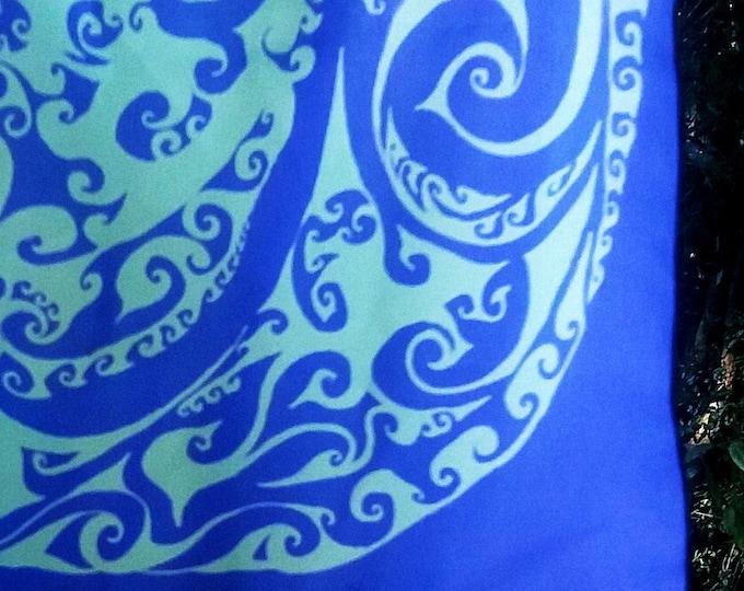 Fillmore, Accent Scarf, Psychedelic Color, Purple, Green, 60's Rock Poster, 60's Colors, Bandana, Rave, Festival, Original Art, Hand Drawn