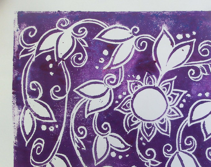 Handmade Family Tree Print - 5 Generations - Block Print Poster - Purple Decorative Floral - Unframed - Mother's Day Gift - Baby Shower Gift