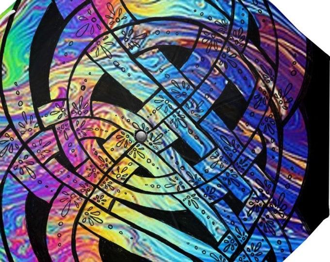 Liquid Rainbow Umbrella, Art Umbrella, Rainbow Umbrella, Liquid, Colorful, Trippy, Designer Umbrella, Celtic Knot, Hand Drawn, Original Art