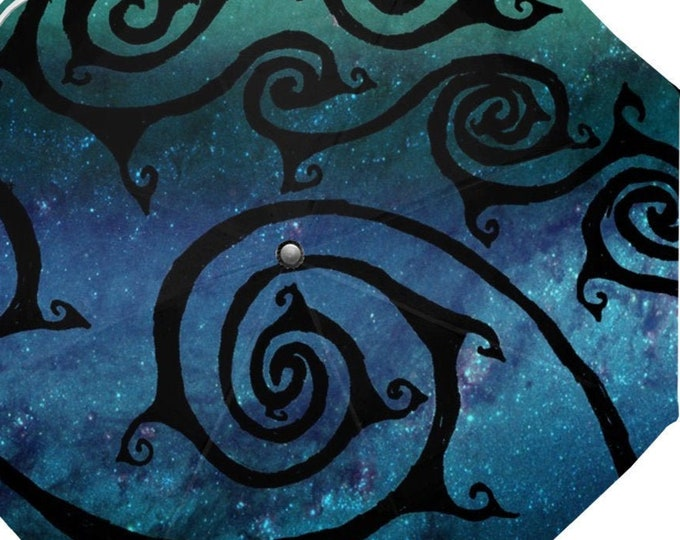 Celtic Spiral Galaxy Umbrella, Celtic Spirals, Blue Galaxy, Spiral, Designer Umbrella, Galaxy Umbrella, Spiral,Hand Drawn, Original Drawing