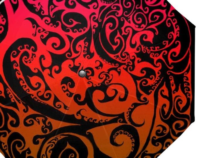 Autumnal Ombre Umbrella, Celtic Spiral, Ombre, Red, Orange, Flame, Swirl, Spiral, Umbrella, Festival, Matching Top, Hand Drawn, Original Art