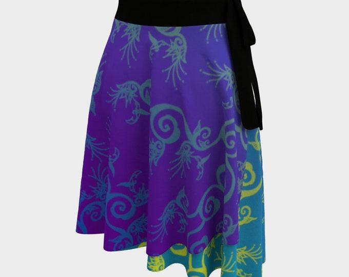 Hummingbird Ombre, Wrap Skirt, Purple, Blue, One Size Fits All, Plus Size, Bird, Flower,Floral,Spring,Twirl Skirt, Hand Drawn, Original Art