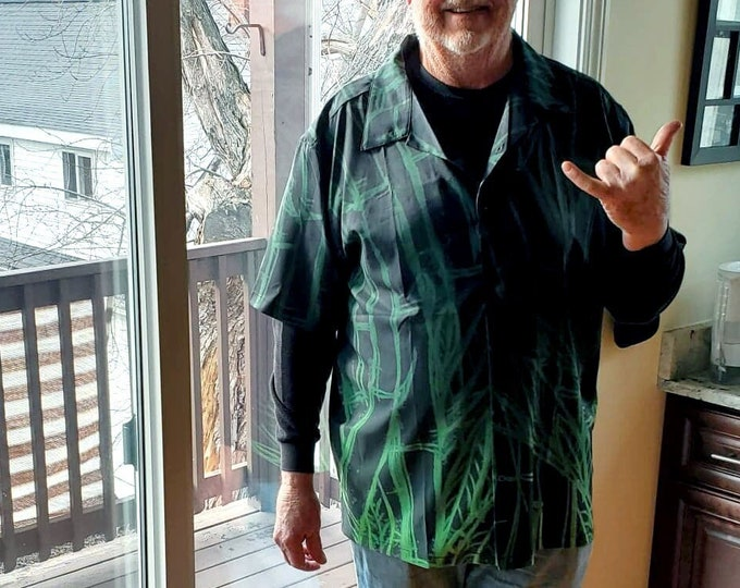 Green Bamboo Sketch, Button-up Shirt, Small to 5X Large, Green,Ombre, Leaf,Tree, Mens Shirt, For Him, Button Shirt, Original Art, Hand Drawn