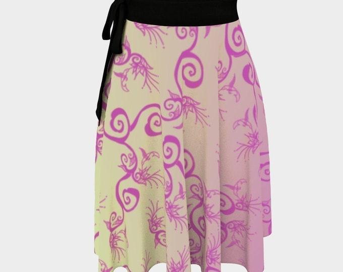 Hummingbird Ombre, Wrap Skirt, Pink, Beige, One Size Fits All, Plus Size, Bird, Flower, Floral, Spring,Twirl Skirt, Hand Drawn, Original Art