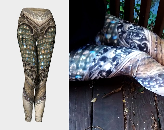 Silver Labradorite Dimension Door, Mermaid Armor Leggings, Cosplay, LARP Armor, Silver, Medieval, Deco, Fantasy, Filigree, Armor, Leggings