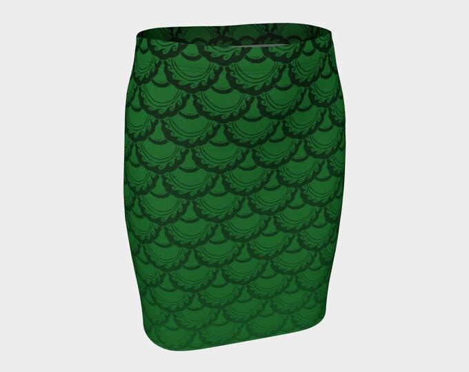 Swirly Mermaid Skirt, Green, Ombre, Mermaid, Mermaid Scale, Little Mermaid, Ariel, Skirt, Mini Skirt, Fish Scales, Hand Drawn, Original Art