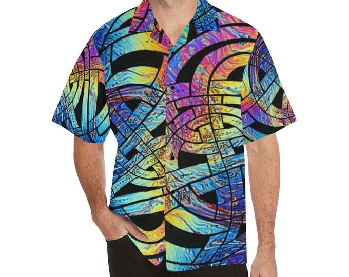 Liquid Rainbow, Button-up Shirt, Celtic Knot, Mens Shirt, Large Size, S,M,L,XL,2XL,3XL,4XL,5XL, Tall, Button Shirt, Original Art, Hand Drawn