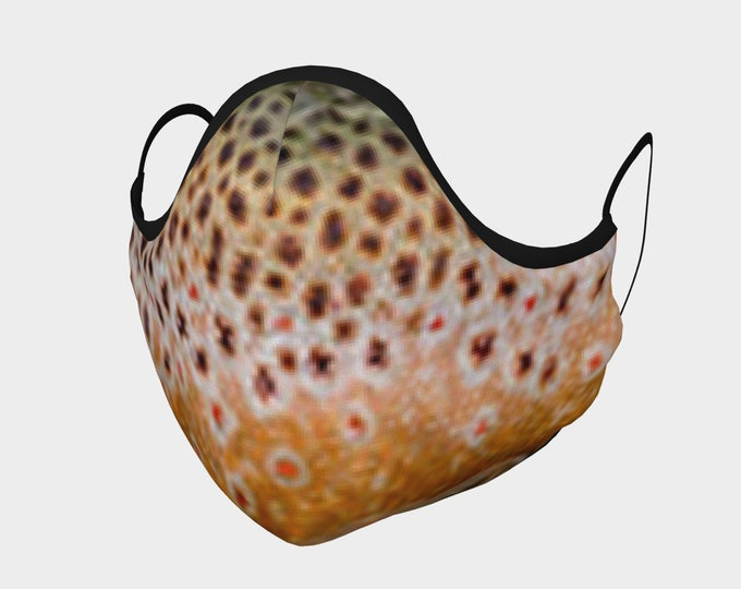 Brown Trout Pout Cuatro, Cotton Mask, Buy One /Donate One!, Nose Bridge, Fish, Fish Scale, Fishing, Fishin,Nature,Fish Mask,Face Mask,Pocket