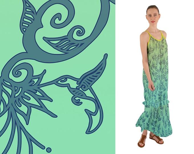 Hummingbird Ombre, Yellow, Green, Boho, Maxi Dress, Sundress,Bird,Summer,Flower, Floral, Ruffle,Spring,Baggy,Twirl, Hand Drawn, Original Art