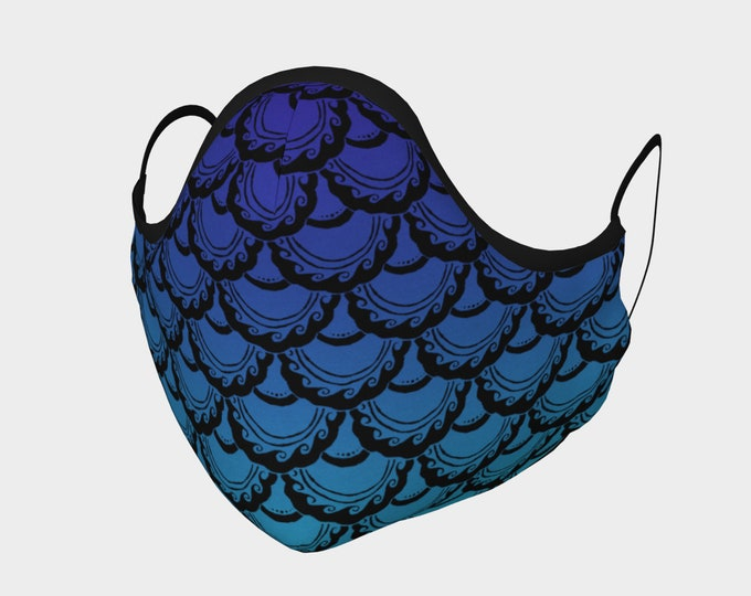 Swirly Mermaid Mask, Purple, Blue, Cotton Mask, 100% Cotton, Metal Nose Piece, Mermaid, Mermaid Mask, Fish Scale, Hand Drawn, Original Art