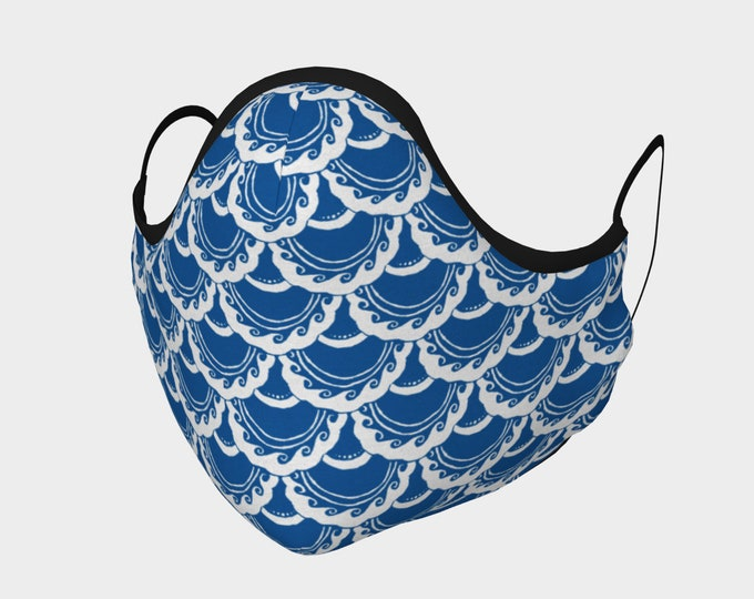 Swirly Mermaid Mask, Blue, White, Cotton Mask, 100% Cotton, Metal Nose Piece, Mermaid, Mermaid Scale, Fish Scale, Hand Drawn, Original Art