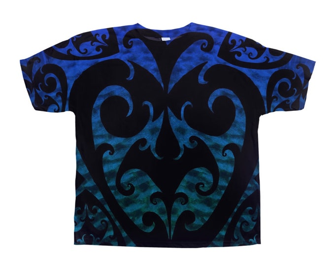 Celtic Heartichoke Spiral Merman Armor Tee Shirt, Fish Scale, Blue Green Ombre, Swirl, Rave, Art Tee, Designer Tee, Hand Drawn, Original Art