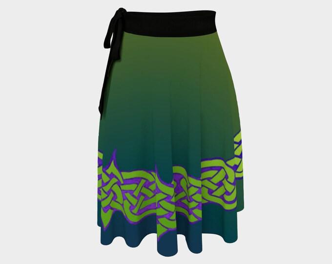 Celtic Briar, Green, Gold, Purple, Ombre, Wrap Skirt, Plus Size, Celtic Knot,Celtic, St Patricks Day, Irish Dance, Hand Drawn, Original Art