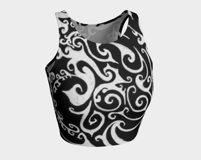 Valkyrie Celtic Spiral Top, Black and White, Swim Top,Crop Top, Workout, Yoga Top,Swimsuit, Bikini Top, Sport Bra, Original Art, Hand Drawn