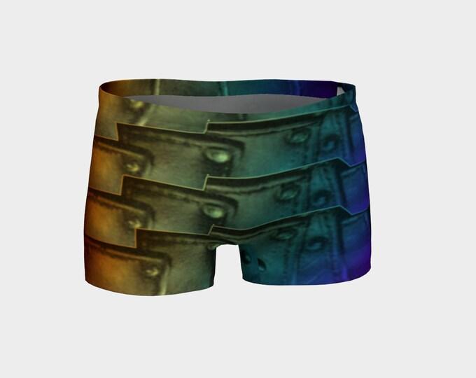Rainbow Armor, Shorts, Armor Print, Rainbow,Cosplay,Fantasy Rave,Festival,Art,Yoga, Booty Shorts, Hot Pants, Swimsuit Bottom, Workout Shorts