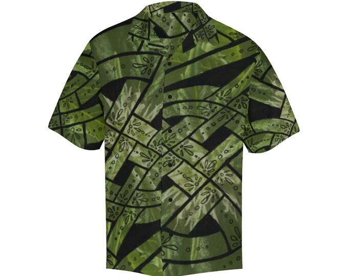 Humboldt, Button-up Shirt, Celtic Knot, Cannabis, Leaf, Mens Shirt, Leaves, S,M,L,XL,2XL,3XL,4XL,5XL, Button Shirt, Original Art, Hand Drawn