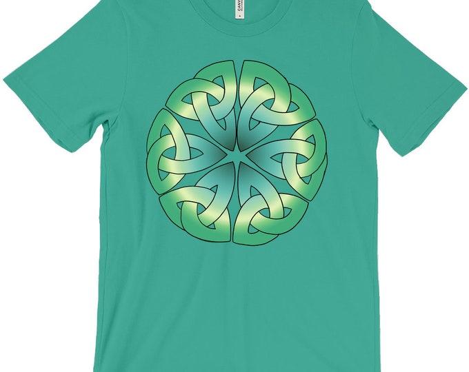 6 Triquetras Tee, Green Ombre, Green, Irish, T Shirt, Triquetra, Celtic Knot, Roman, Sicilian, Japanese, Buddhist, Original Art, Hand Drawn