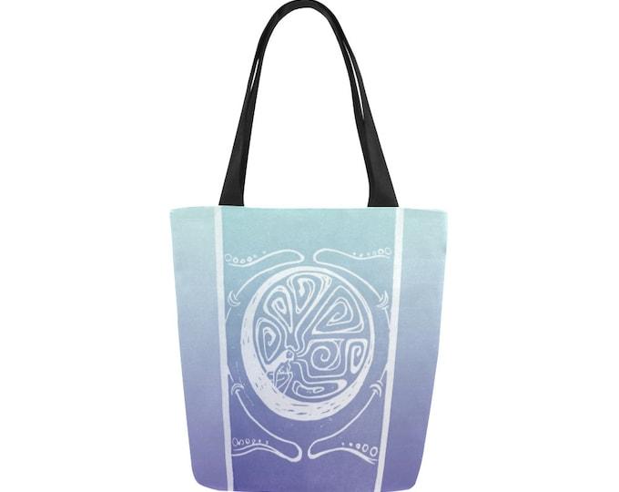 Woman in the Moon, Book Bag, Purple, Blue, Celestial, Mythical Character, Canvas, Art Tote, Fabulous Wallflowers, Original Art, Block Print
