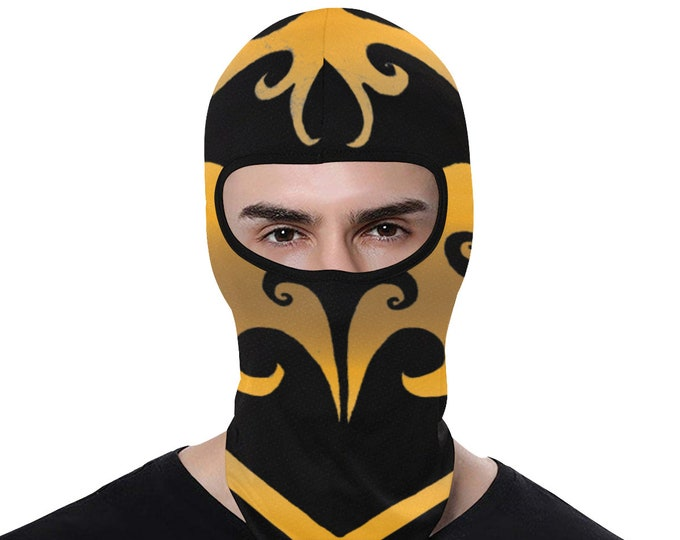 Ninja Signet, Balaclava, Black and Gold, Swirl, Head Scarf, Scarf, Face Mask, Gold Mask, Festival Mask, Ninja Mask, Original Art, Hand Drawn