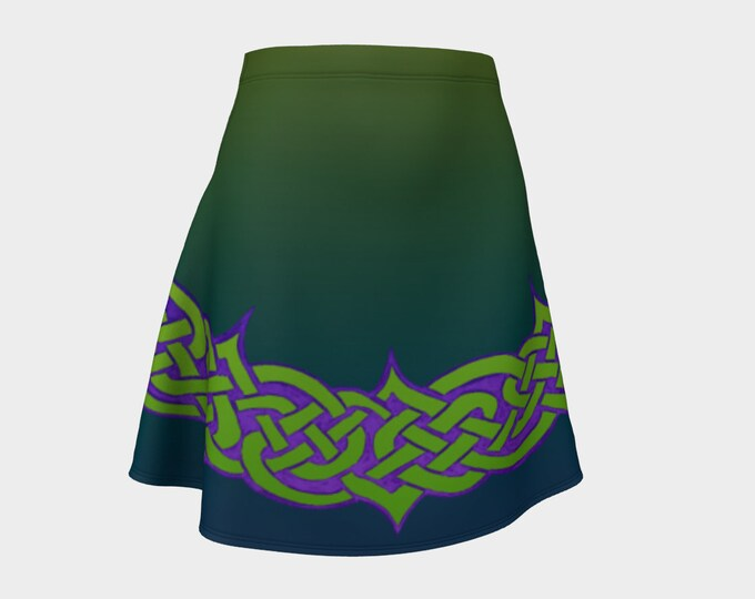 Celtic Briar, Green,Purple,Ombre, Flare, Skirt,Celtic Knot,Celtic, St Patricks Day, Above Knee Skirt, Irish Dance, Hand Drawn, Original Art