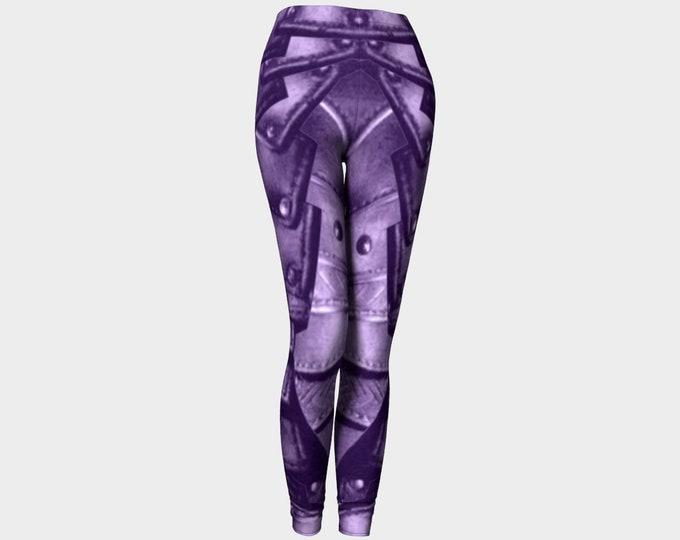 Royal Prince Purple Rivet Armor Print Leggings, Prince Purple, Love Symbol 2, Fantasy, Cosplay, Steampunk, Medieval, Armor, Leggings, Pants