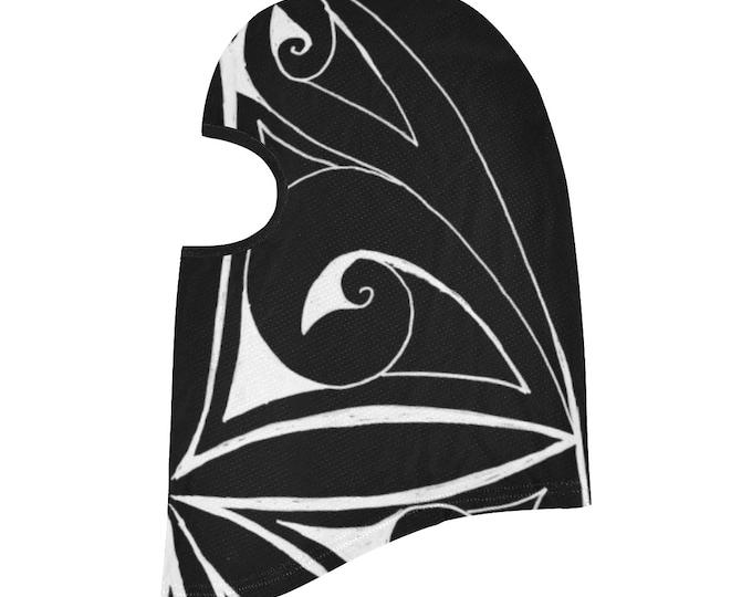 Ninja Leaf, Balaclava, Geometric, Face Mask, Black, White, Ninja Mask, Swirl, Leaf, Head Scarf, Face Cover, Scarf, Original Art, Hand Drawn