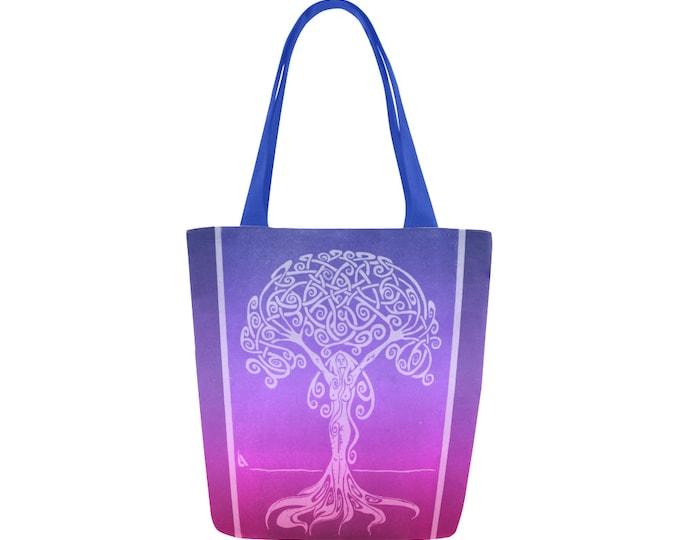 Sunrise Dryad, Book Bag, Pink, Purple, Tree Woman, Canvas Tote Bag,Ombre, Swirl, Girl Power, Fabulous Wallflowers, Original Art, Block Print
