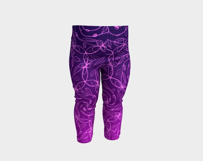 Spiral Vines, Baby Pants, Pink and Purple Ombre, Flowers, Boho Chic, Celtic Spiral, Baby Size, Mommy and Me Matching Outfits, Original Art
