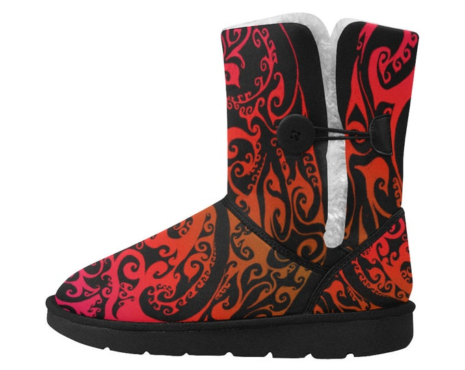 Autumnal Ombre Snow Boots, Cozy Boot, Red Boots, Fire Boots, Fire, Autumn, Ombre, Snow Boot, Womens Boot, Unisex, Original Art, Hand Drawn